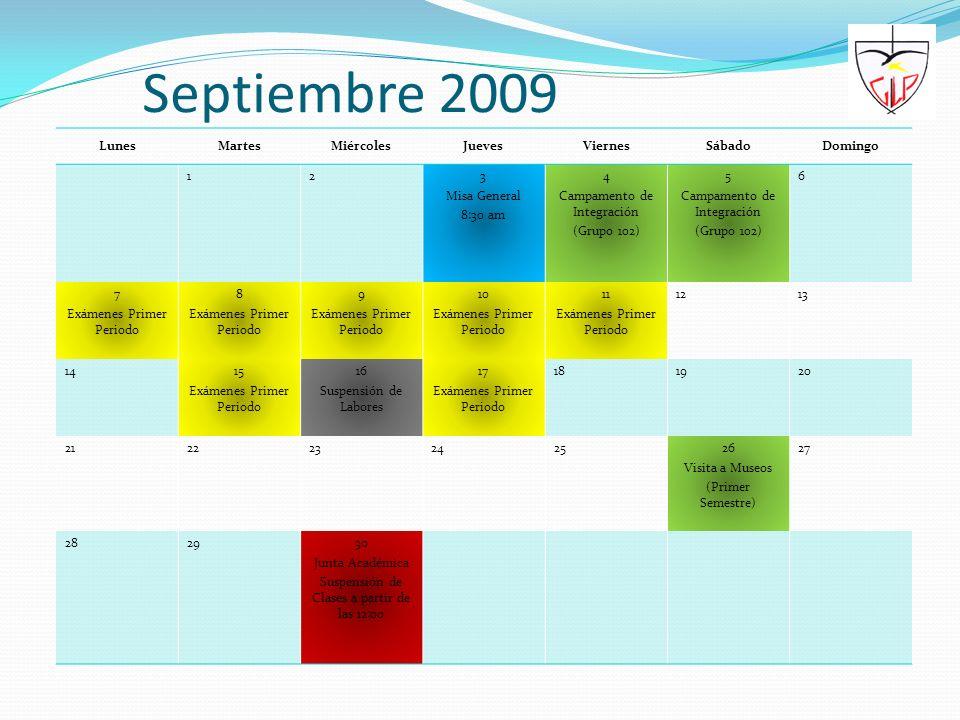Septiembre 2009 Lunes Martes Miércoles Jueves Viernes Sábado Domingo 1