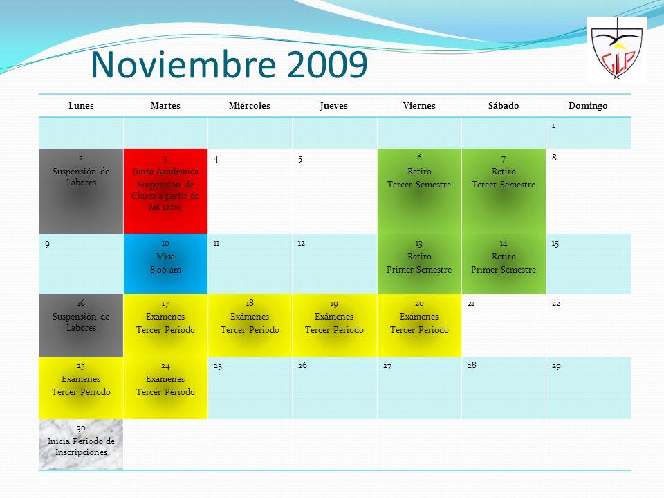 Noviembre 2009 Lunes Martes Miércoles Jueves Viernes Sábado Domingo 1