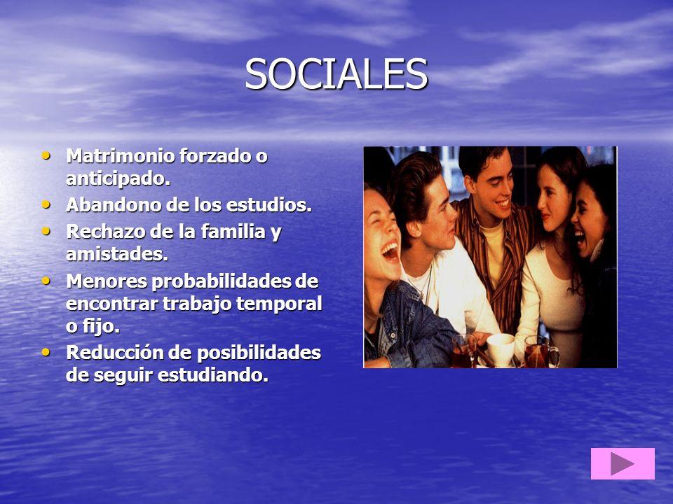 SOCIALES Matrimonio forzado o anticipado. Abandono de los estudios.