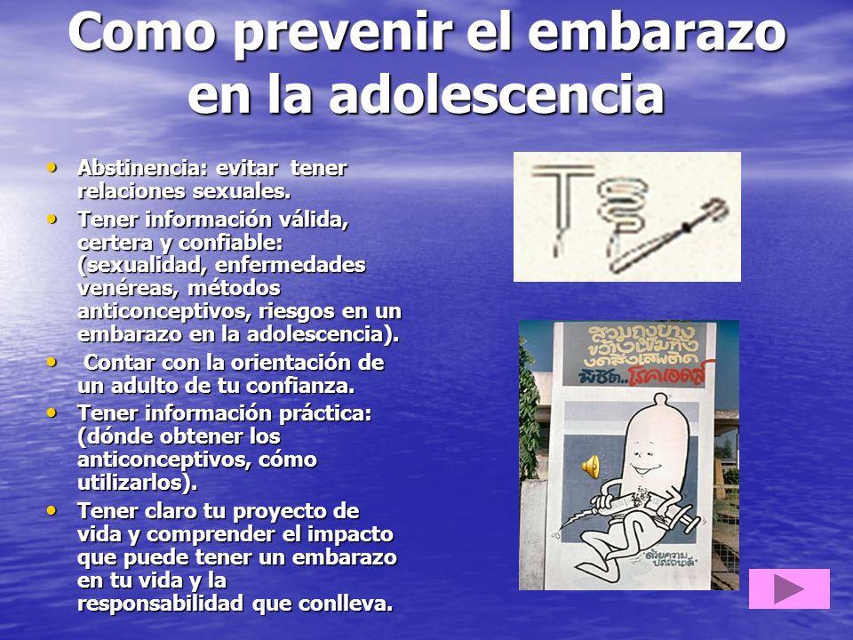 Como prevenir el embarazo en la adolescencia