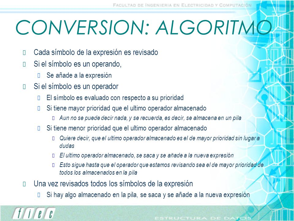 CONVERSION: ALGORITMO