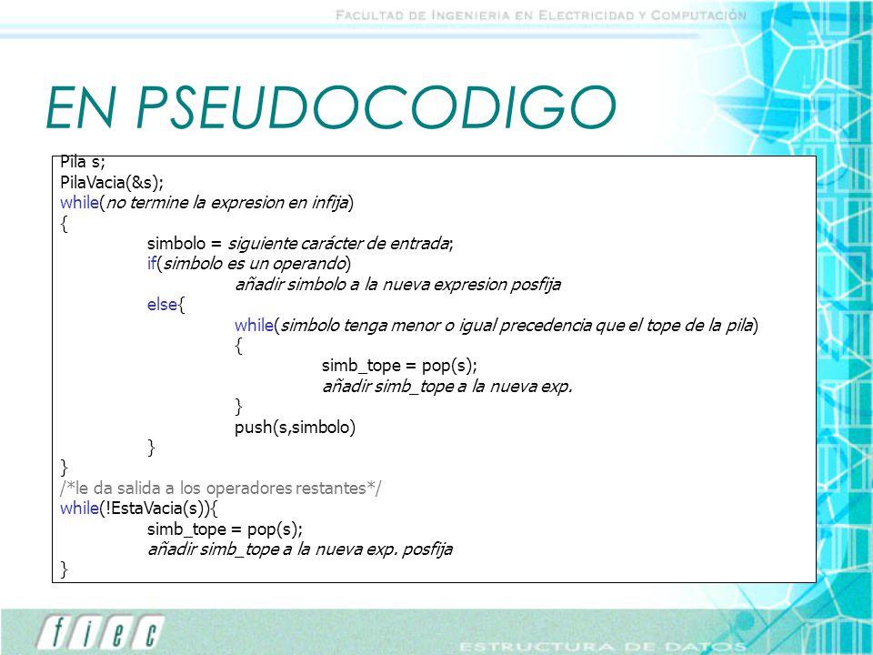 EN PSEUDOCODIGO Pila s; PilaVacia(&s);