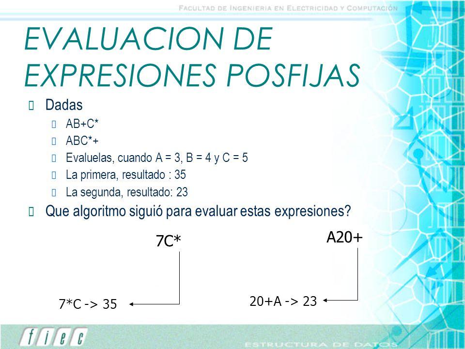 EVALUACION DE EXPRESIONES POSFIJAS
