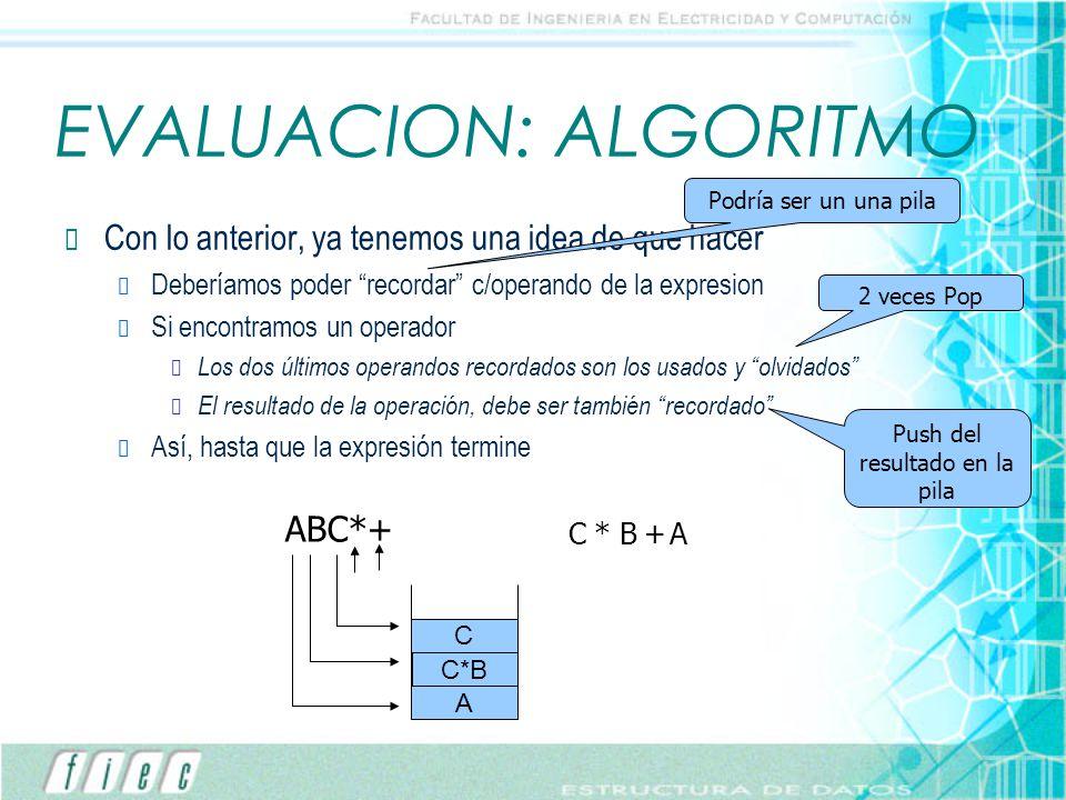EVALUACION: ALGORITMO