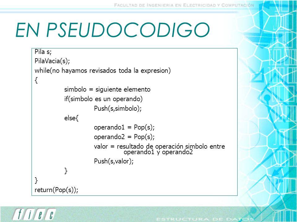 EN PSEUDOCODIGO Pila s; PilaVacia(s);