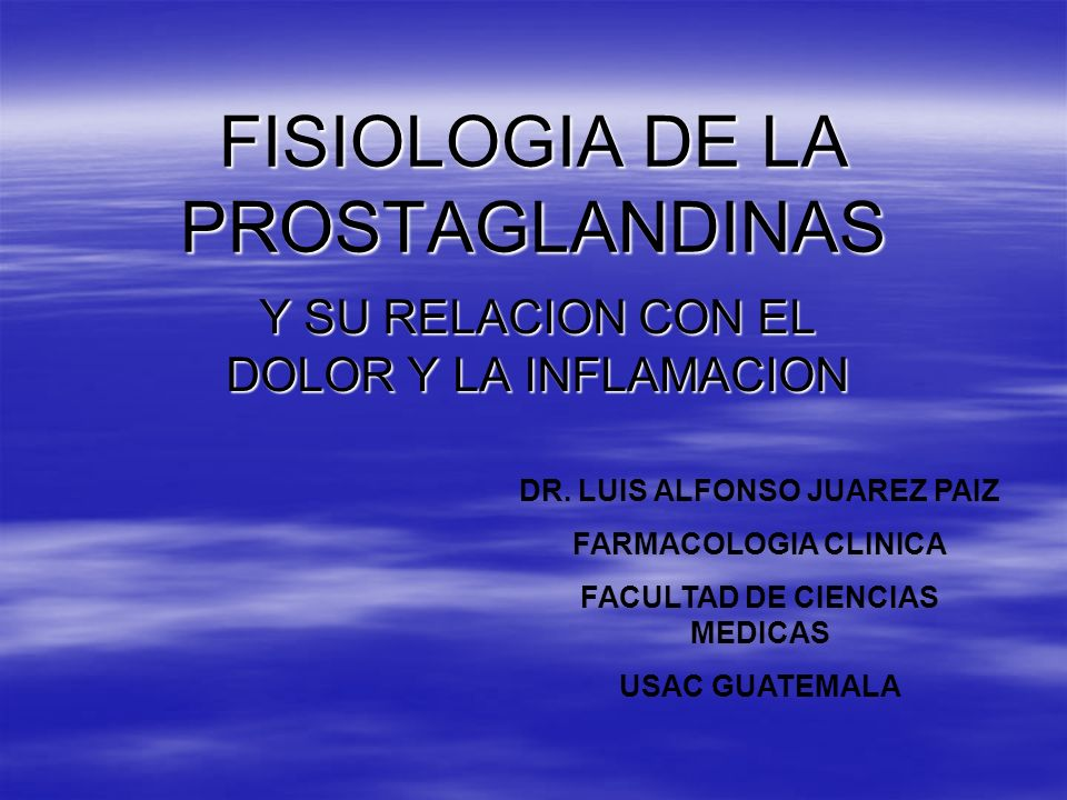 FISIOLOGIA DE LA PROSTAGLANDINAS