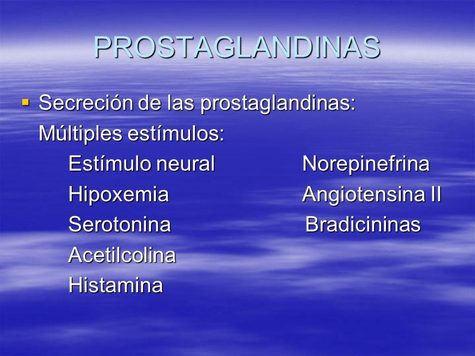 PROSTAGLANDINAS Secreción de las prostaglandinas: Múltiples estímulos:
