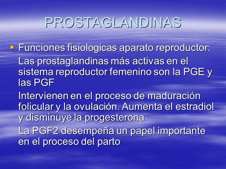 PROSTAGLANDINAS Funciones fisiologicas aparato reproductor:
