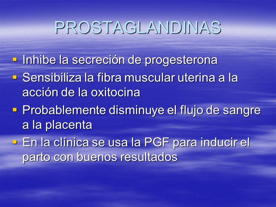 PROSTAGLANDINAS Inhibe la secreción de progesterona