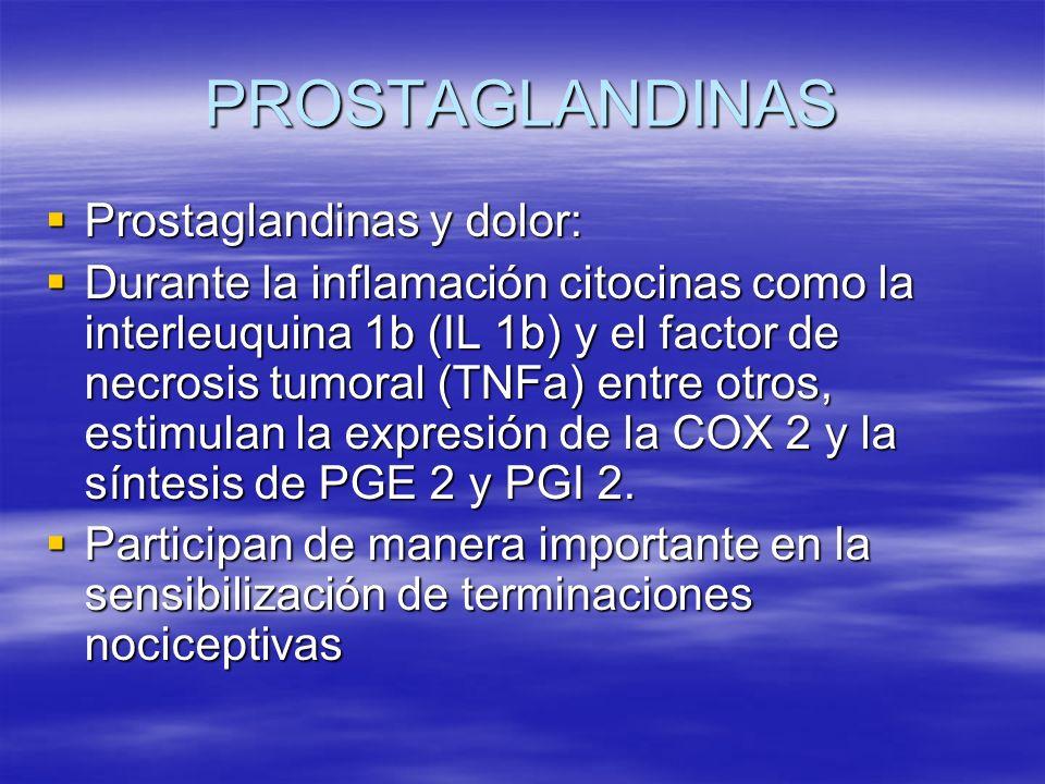 PROSTAGLANDINAS Prostaglandinas y dolor: