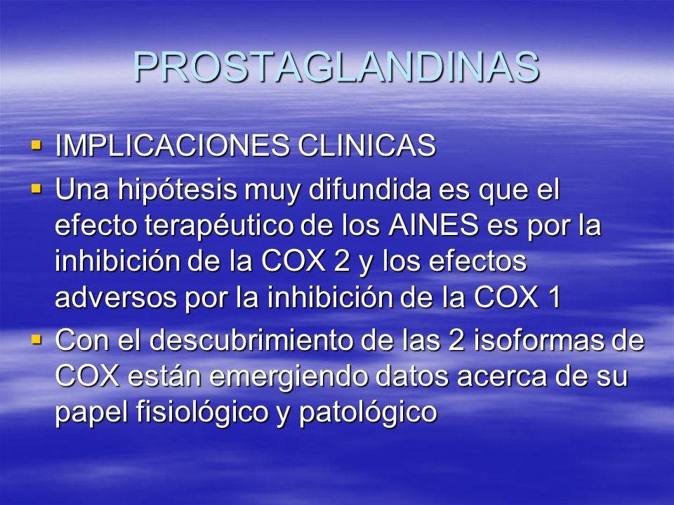PROSTAGLANDINAS IMPLICACIONES CLINICAS