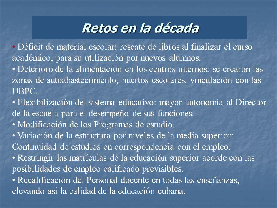 Retos en la décadaDéficit de material escolar: rescate de libros al finalizar el curso académico, para su utilización por nuevos alumnos.