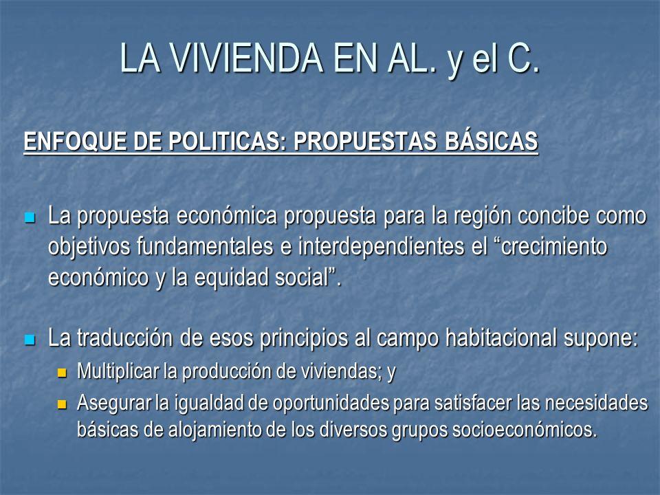 LA VIVIENDA EN AL. y el C. ENFOQUE DE POLITICAS: PROPUESTAS BÁSICAS