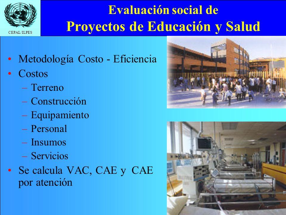 Evaluación social de Proyectos de Educación y Salud