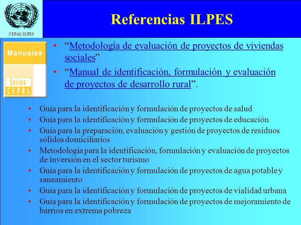 Referencias ILPES Metodología de evaluación de proyectos de viviendas sociales