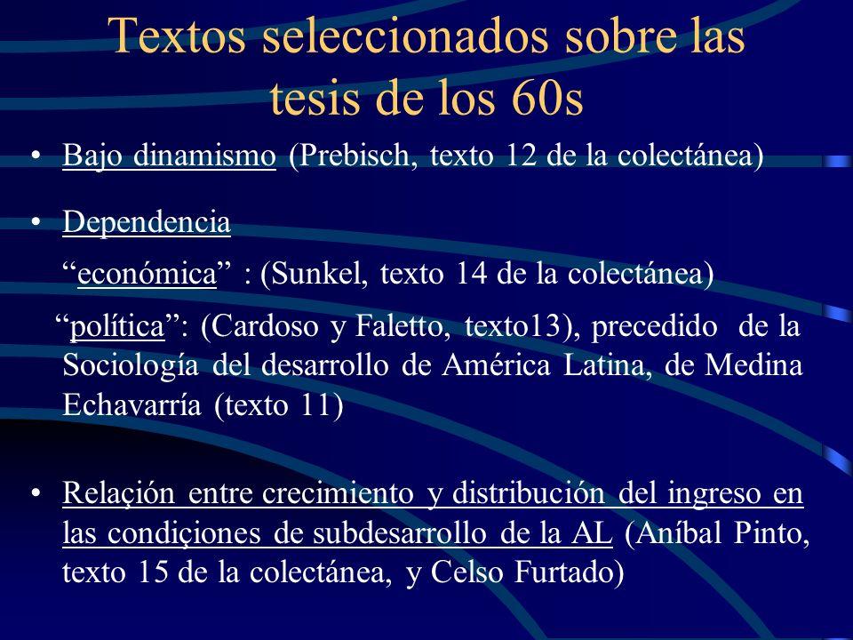 Textos seleccionados sobre las tesis de los 60s