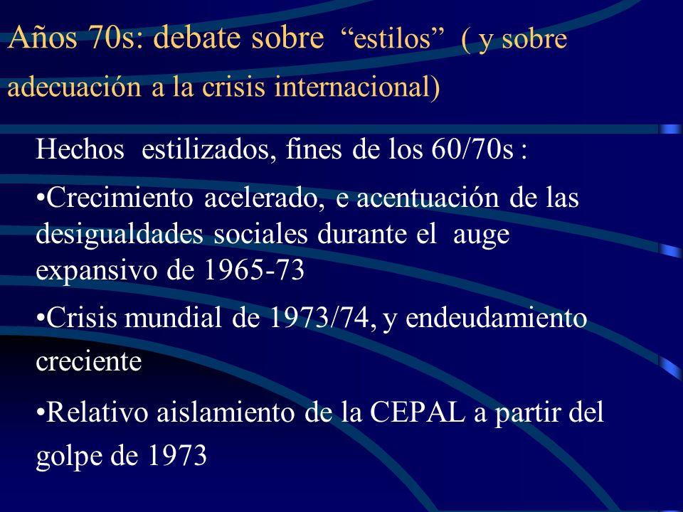 Años 70s: debate sobre estilos ( y sobre adecuación a la crisis internacional)