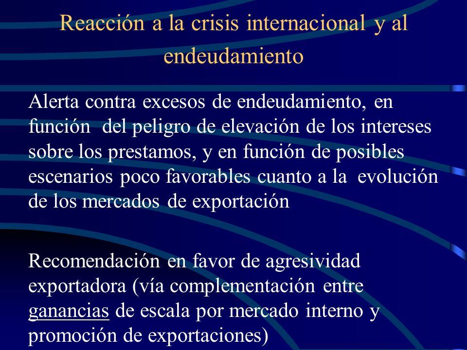 Reacción a la crisis internacional y al endeudamiento