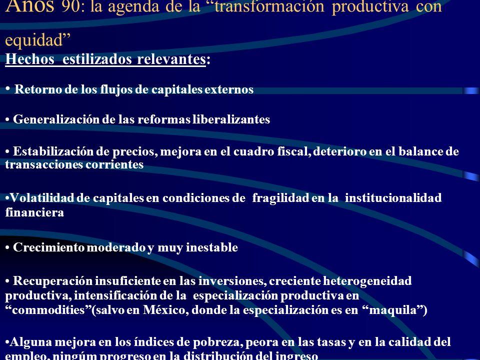Años 90: la agenda de la transformación productiva con equidad