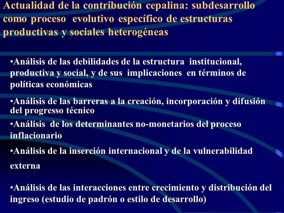 Actualidad de la contribución cepalina: subdesarrollo como proceso evolutivo específico de estructuras productivas y sociales heterogéneas