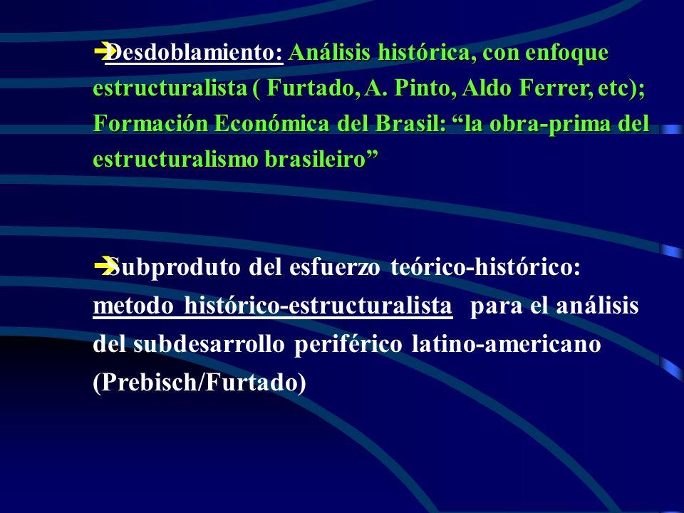 Desdoblamiento: Análisis histórica, con enfoque estructuralista ( Furtado, A. Pinto, Aldo Ferrer, etc); Formación Económica del Brasil: la obra-prima del estructuralismo brasileiro