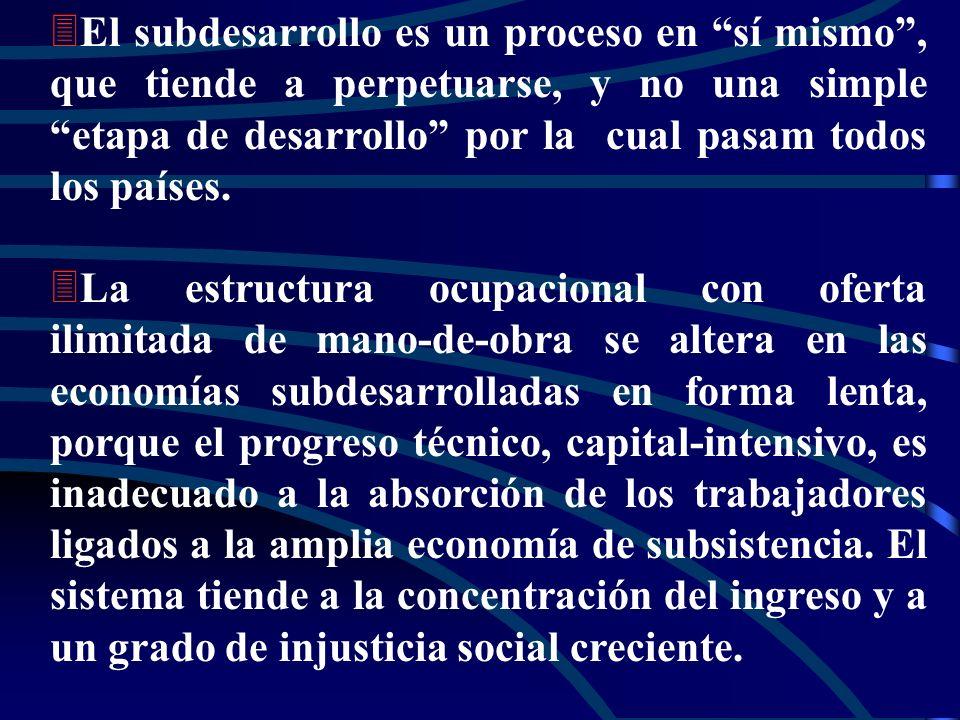 El subdesarrollo es un proceso en sí mismo , que tiende a perpetuarse, y no una simple etapa de desarrollo por la cual pasam todos los países.