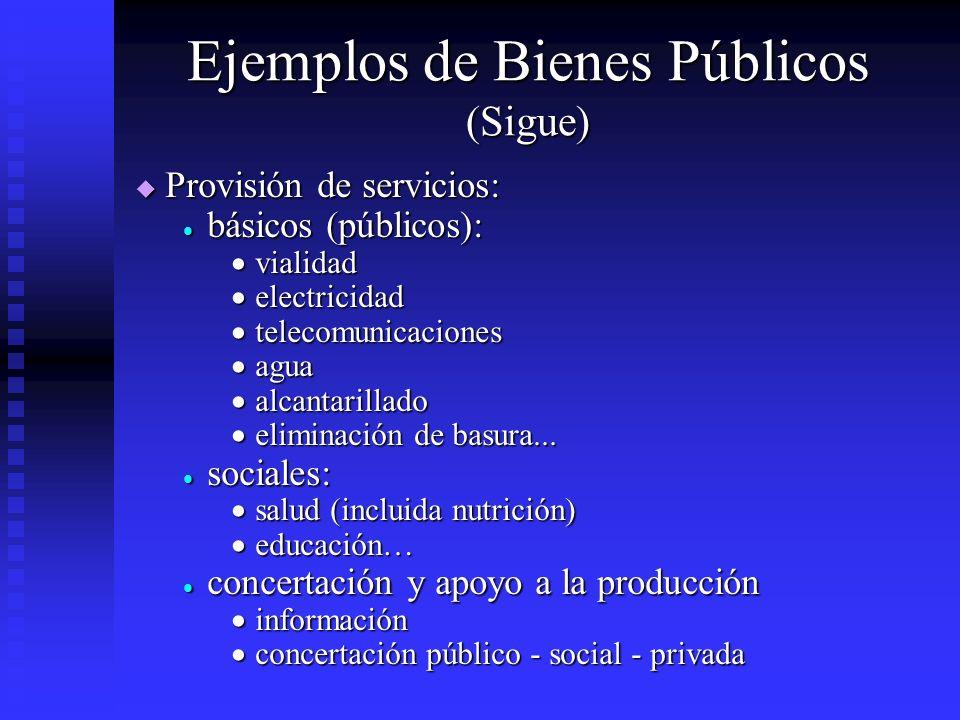 Ejemplos de Bienes Públicos (Sigue)