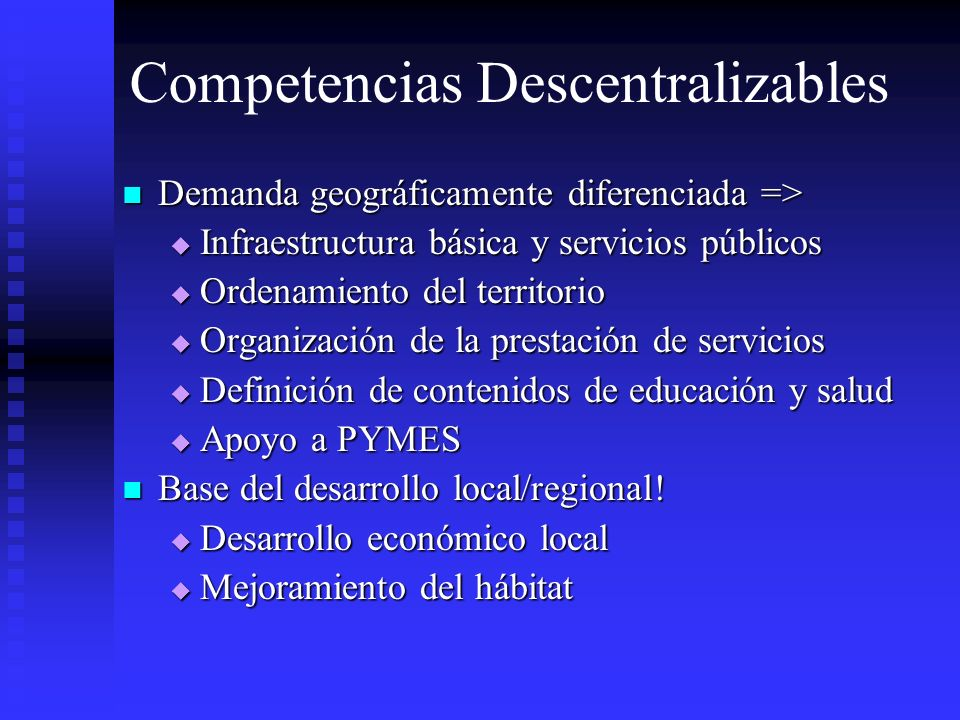 Competencias Descentralizables