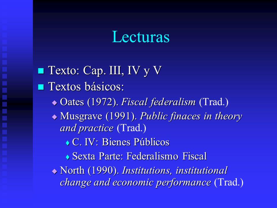 Lecturas Texto: Cap. III, IV y V Textos básicos: