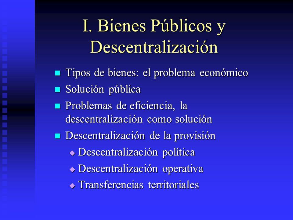 I. Bienes Públicos y Descentralización