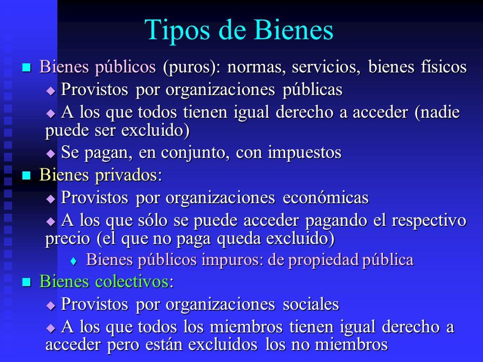 Tipos de Bienes Bienes públicos (puros): normas, servicios, bienes físicos. Provistos por organizaciones públicas.