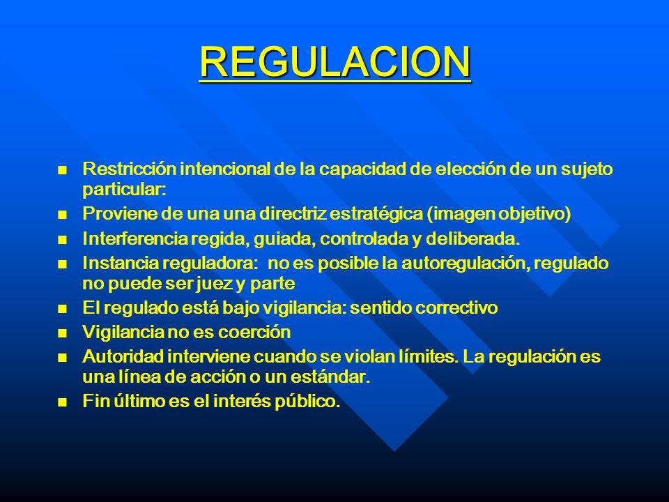 REGULACION Restricción intencional de la capacidad de elección de un sujeto particular: Proviene de una una directriz estratégica (imagen objetivo)