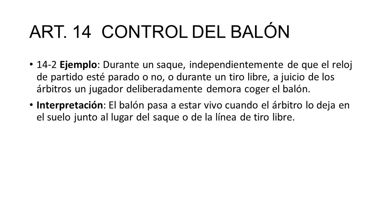 ART. 14 CONTROL DEL BALÓN