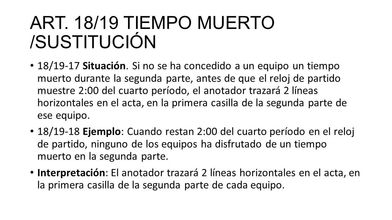 ART. 18/19 TIEMPO MUERTO /SUSTITUCIÓN