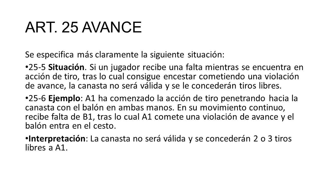 ART. 25 AVANCE Se especifica más claramente la siguiente situación: