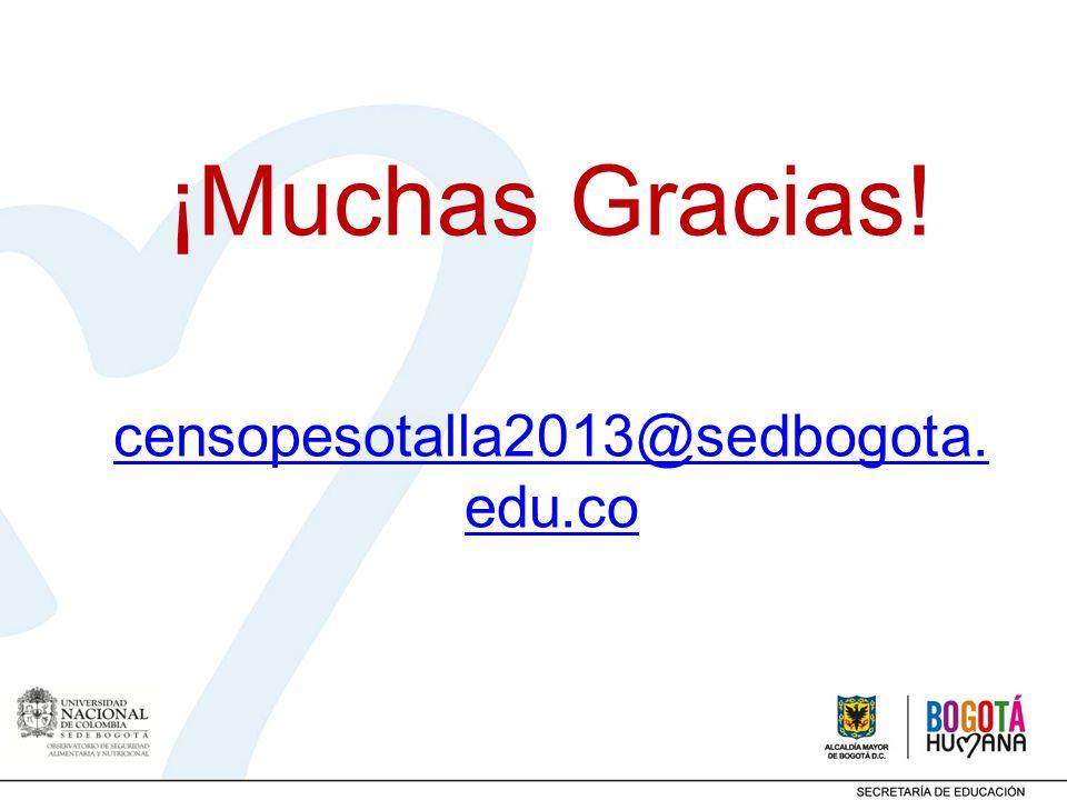 ¡Muchas Gracias! censopesotalla2013@sedbogota.edu.co