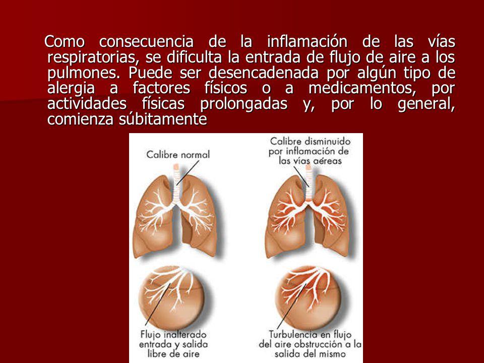 Como consecuencia de la inflamación de las vías respiratorias, se dificulta la entrada de flujo de aire a los pulmones.
