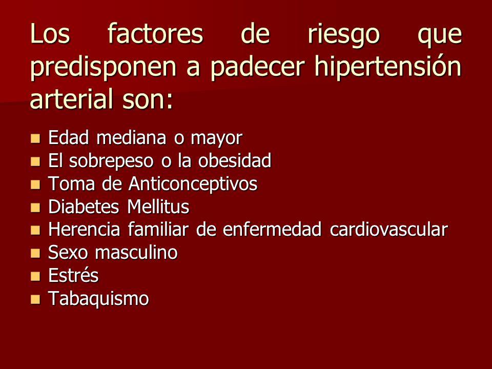 Los factores de riesgo que predisponen a padecer hipertensión arterial son: