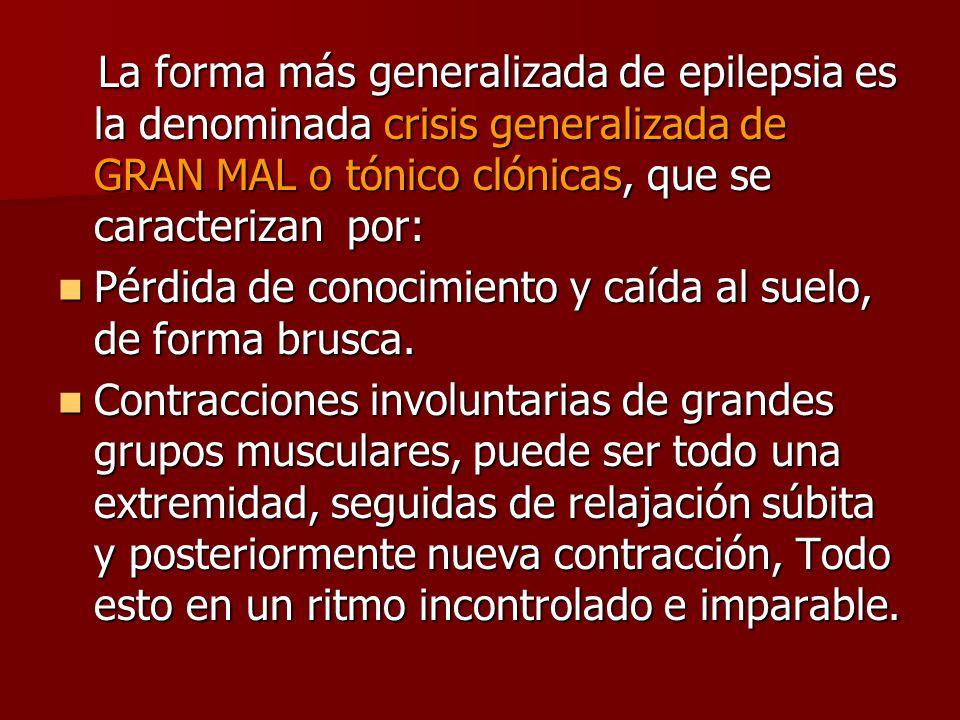 La forma más generalizada de epilepsia es la denominada crisis generalizada de GRAN MAL o tónico clónicas, que se caracterizan por: