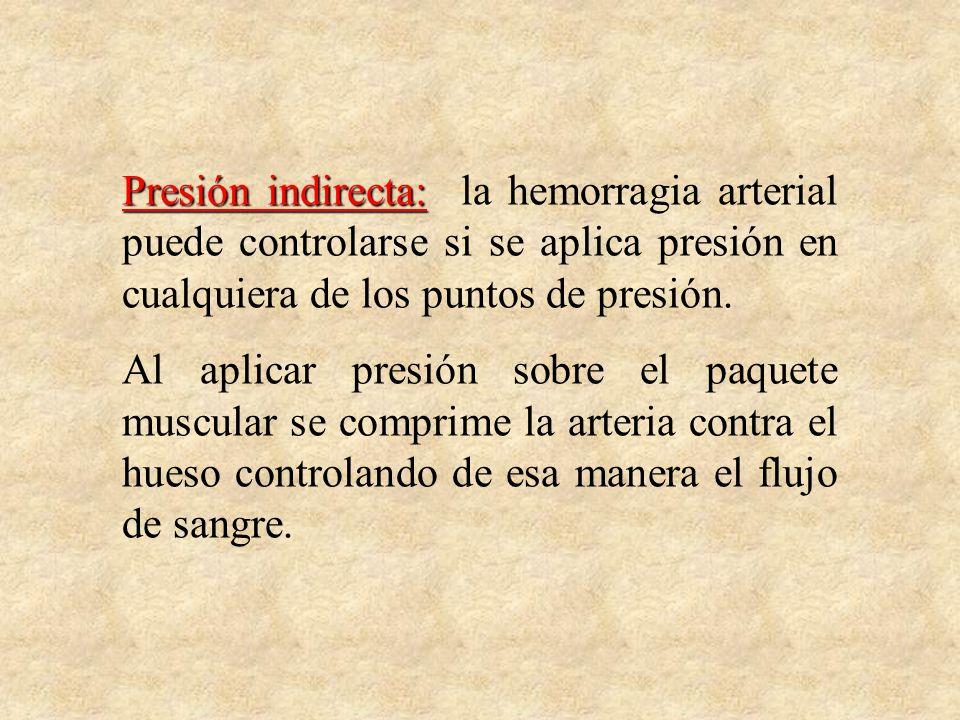 Presión indirecta: la hemorragia arterial puede controlarse si se aplica presión en cualquiera de los puntos de presión.