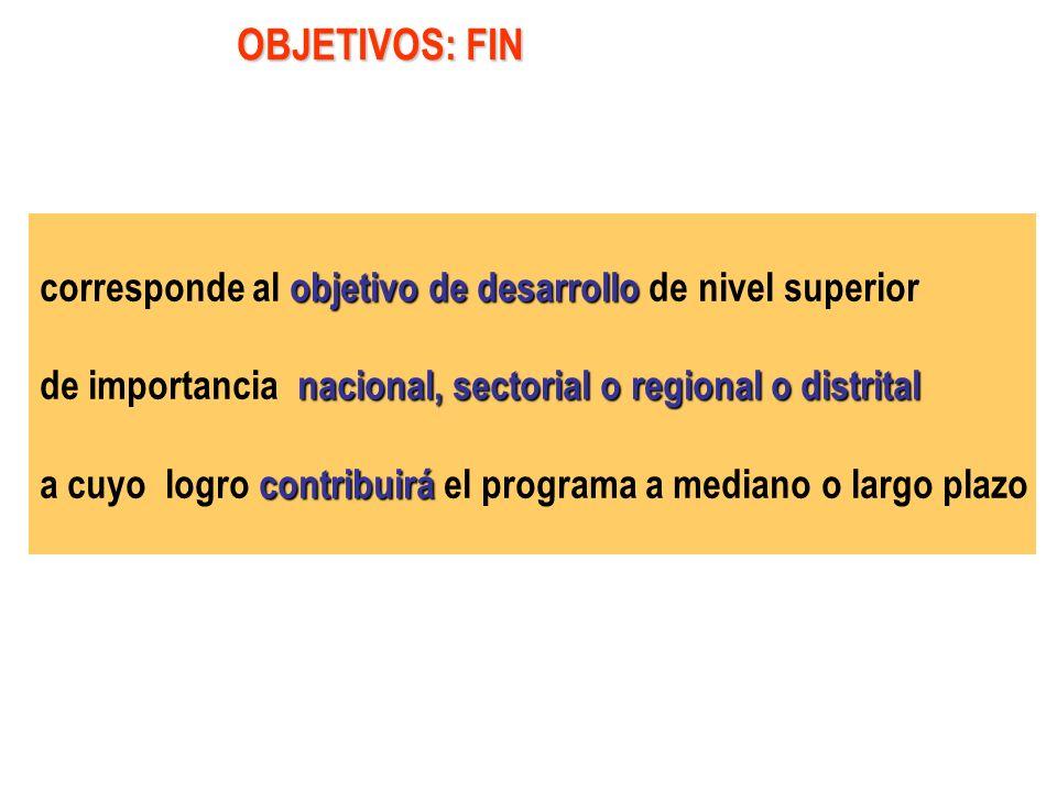 OBJETIVOS: FIN corresponde al objetivo de desarrollo de nivel superior