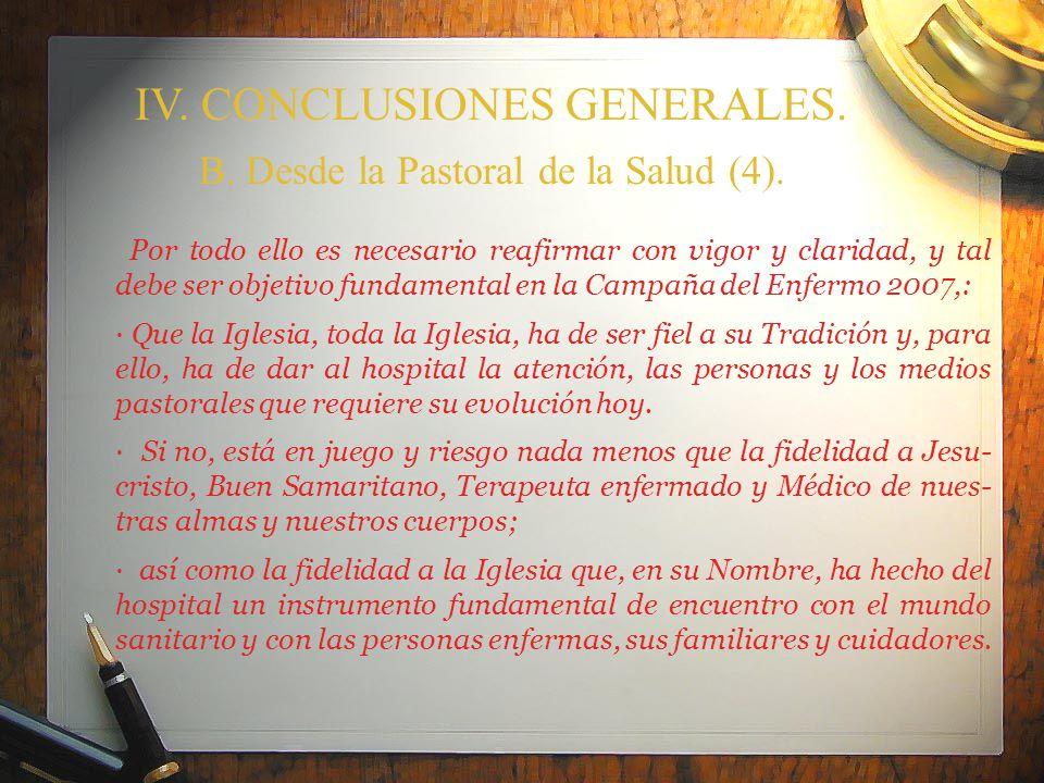 IV. CONCLUSIONES GENERALES.