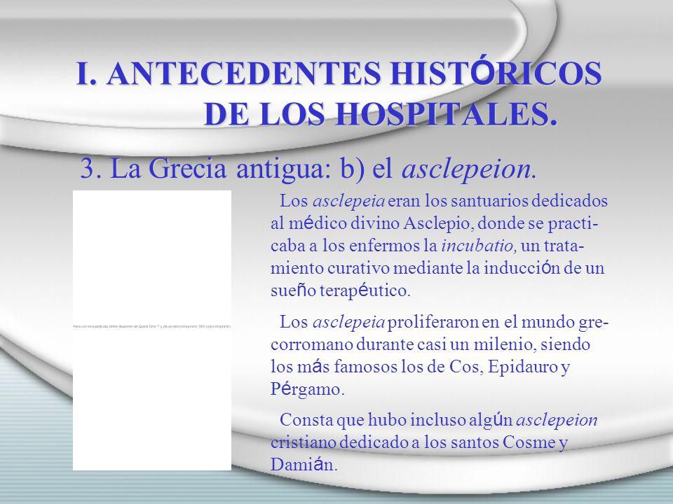 I. ANTECEDENTES HISTÓRICOS DE LOS HOSPITALES.