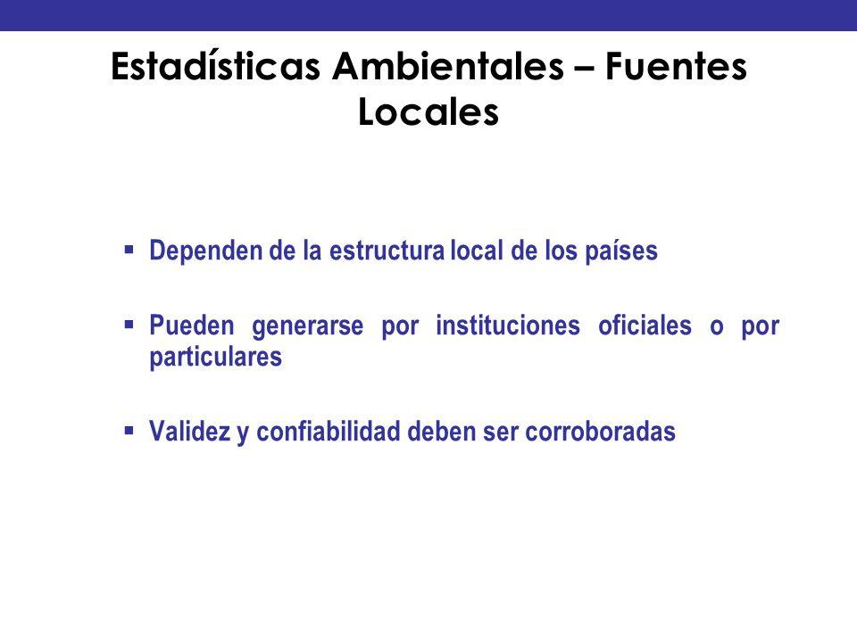 Estadísticas Ambientales – Fuentes Locales
