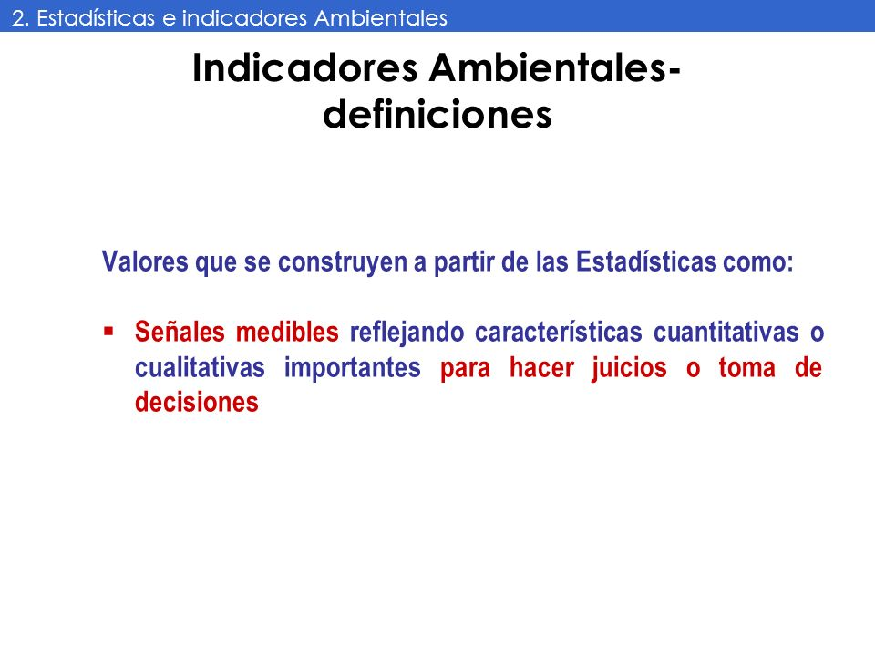 Indicadores Ambientales- definiciones