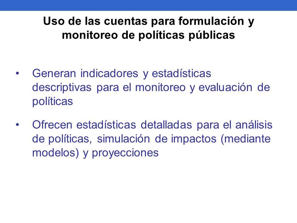 Uso de las cuentas para formulación y monitoreo de políticas públicas