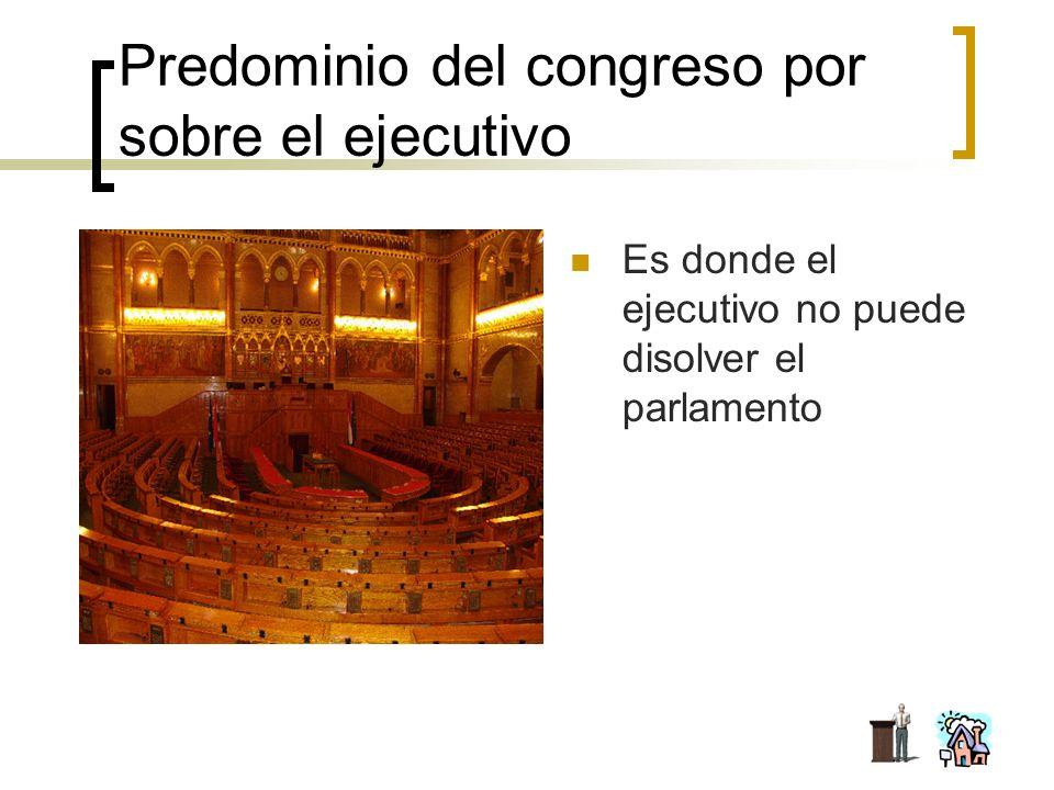 Predominio del congreso por sobre el ejecutivo