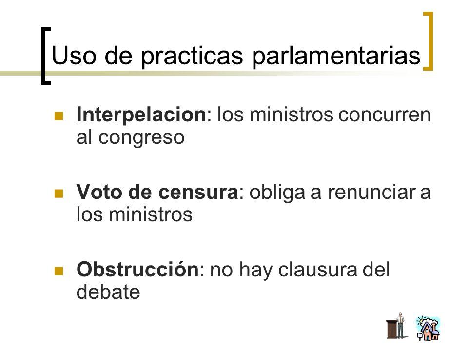 Uso de practicas parlamentarias