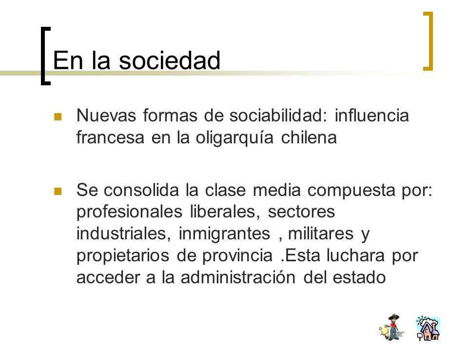 En la sociedad Nuevas formas de sociabilidad: influencia francesa en la oligarquía chilena.