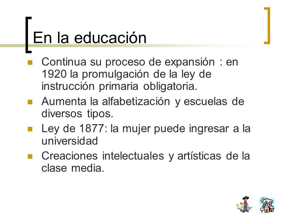 En la educación Continua su proceso de expansión : en 1920 la promulgación de la ley de instrucción primaria obligatoria.
